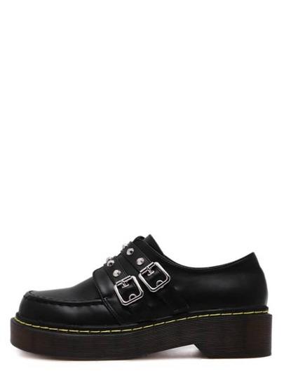 Black Buckle Strap Studded Rubber Soled Platform Shoes