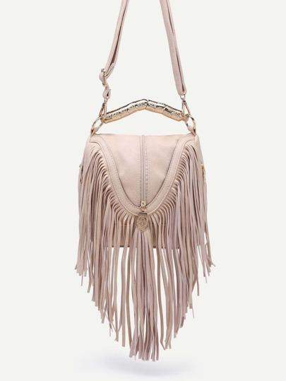 Beige Zip Embellished Fringe Trim Flap Bag