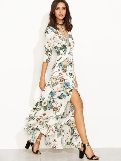 Plunge Split Front Elbow Sleeve Floral Print Dress