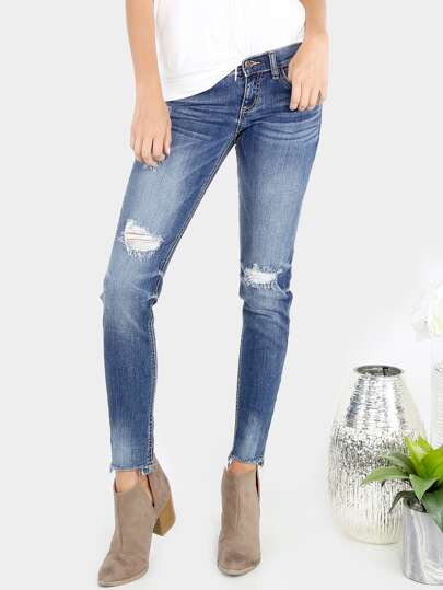 Medium Washed Frayed Skinnies DENIM
