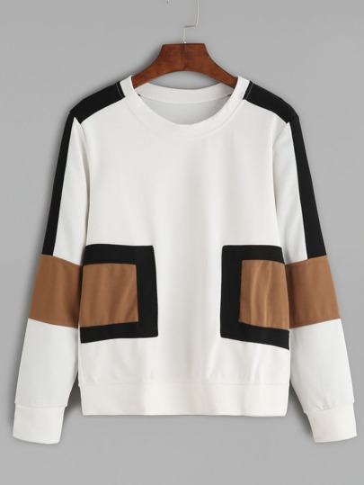White Contrast Panel Sweatshirt