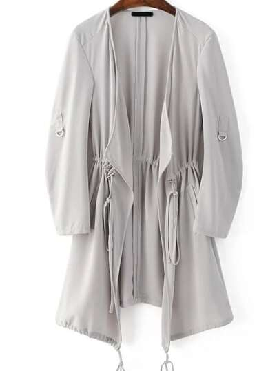 Grey Draped Collar Drawstring Chiffon Coat