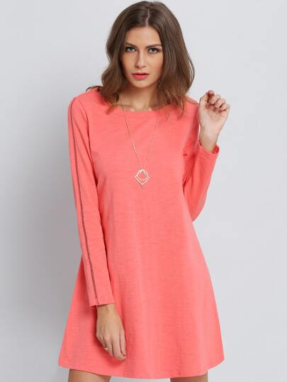 Orange Long Sleeve Casual Dress