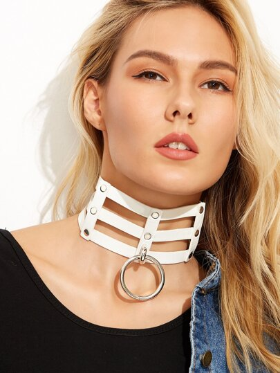 White Geometric Faux Leather Hoop Wide Choker Necklace
