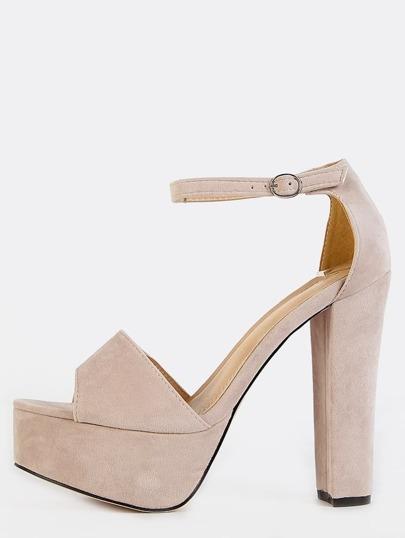 Platform Ankle Strap Heels NUDE