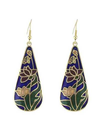 Blue Flower Printed Drop Earrings