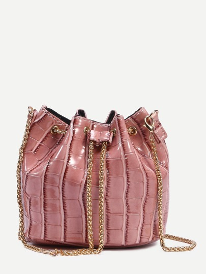 Pink Crocodile Embossed Faux Patent Leather Chain Bucket Bag