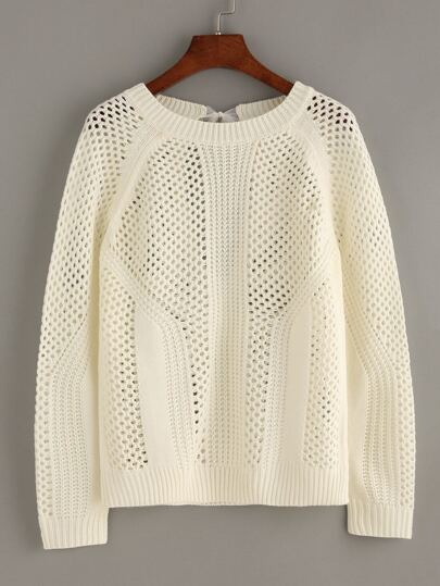 White Hollow Tie Back Long Sleeve Sweater