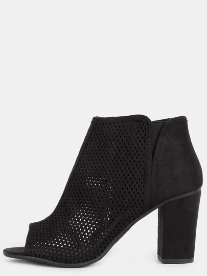 Peep Toe Mesh Ankle Boots BLACK
