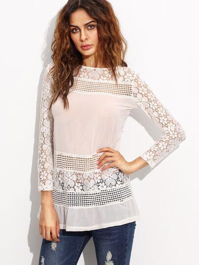 Blusa hueco con croché cremallera manga larga - blanco