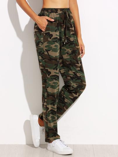 Camo Print Drawstring Jersey Pants