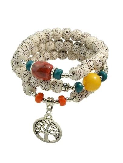 Beige Bohemian Beads Chain Bracelets For Women