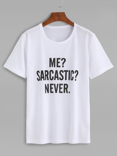 T-shirt imprimé lettres col rond manche courte - blanc