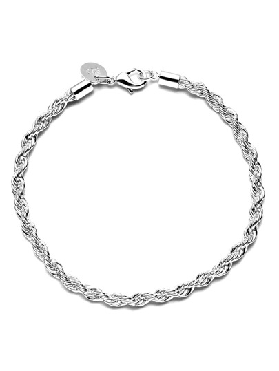 Silver Twisted Rope Solid Bangle Bracelet Chain Wristband