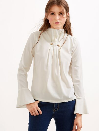 Beige Ruffle High Neck Bell Sleeve Pleated Zipper Blouse