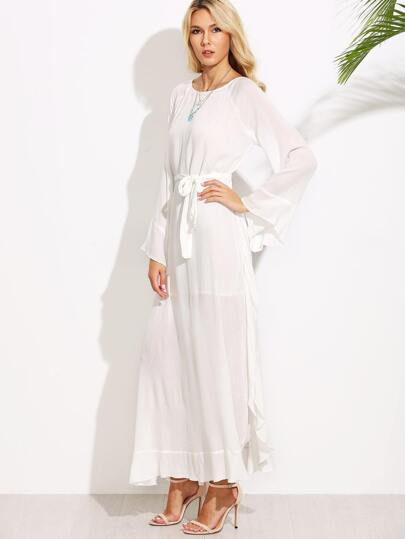 White Belted Raglan Sleeve Side Slit Ruffle Dress With Cami Top