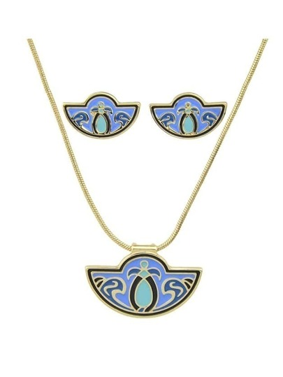 Blue Enamel Fan Shape Necklace Earrings Set