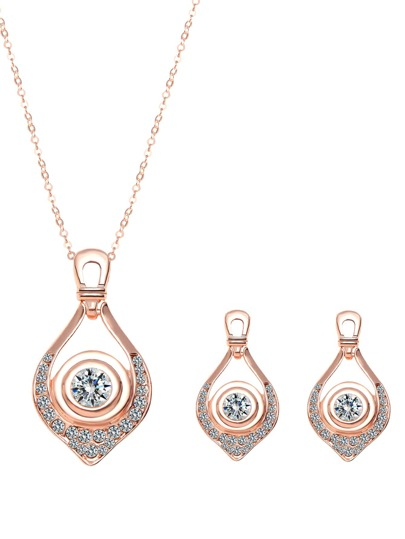 Rose Gold Plated Rhinestone Water Drop Jewelry Set