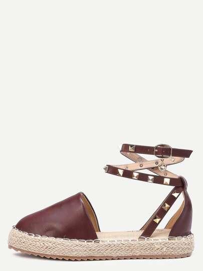 Sandalias cuero del faux correa de tobillo planaforma - café