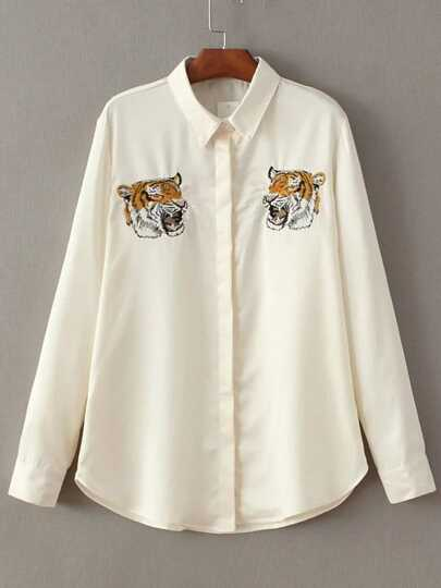 Beige Tiger Embroidery Hidden Button Blouse