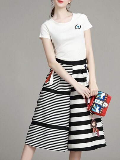 White T-Shirt Top With Striped Pants