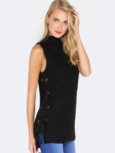 Knitted Sleeveless Pullover Strap Top BLACK