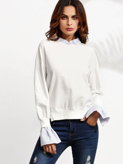 White Striped Slit Side Dip Hem 2 In 1 Sweatshirt