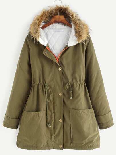 Army Green Drawstring Faux Fur Hooded Parka