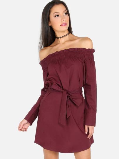 Open Shoulder Sleeved Dress BURGANDY
