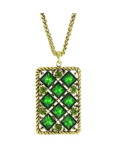 Green Rhinestone Square Shape Pendant Necklace