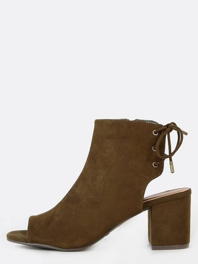Tie Back Faux Suede Ankle Boots OLIVE