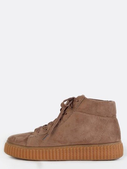 Suede Gum Sole Flatform Sneakers TAUPE