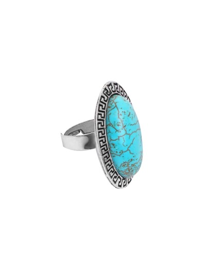 Antique Silver Turquoise Geometric Ring