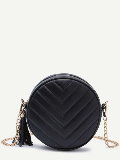 Black Round Fringe Crossbody Bag With Chain Strap