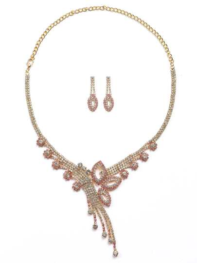 Hot Pink Rhinestone Encrusted Statement Jewelry Set