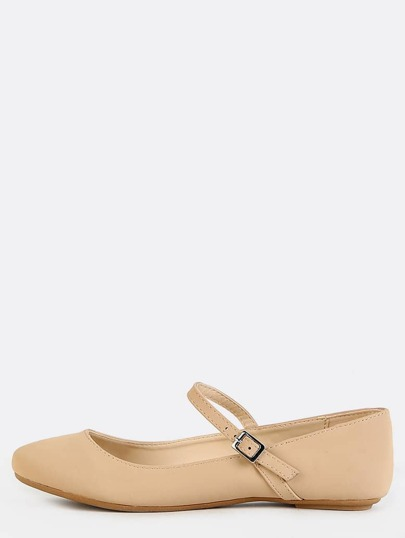 Round Toe Ankle Strap Flats NUDE