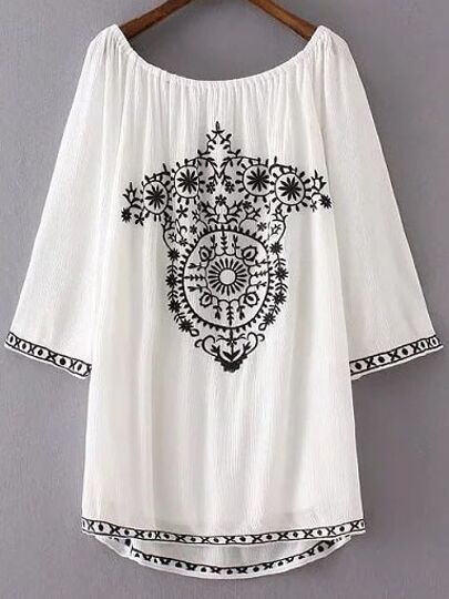 White Embroidery Boat Neck Dip Hem Dress