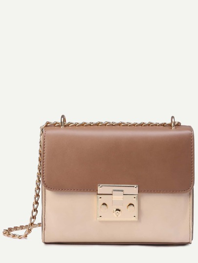 Apricot Contrast Pushlock Flap Structured Chain Bag