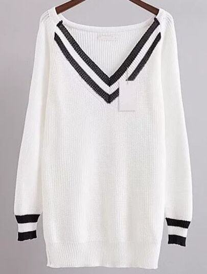 White Chevron Pattern V Neck Raglan Sleeve Long Sweater