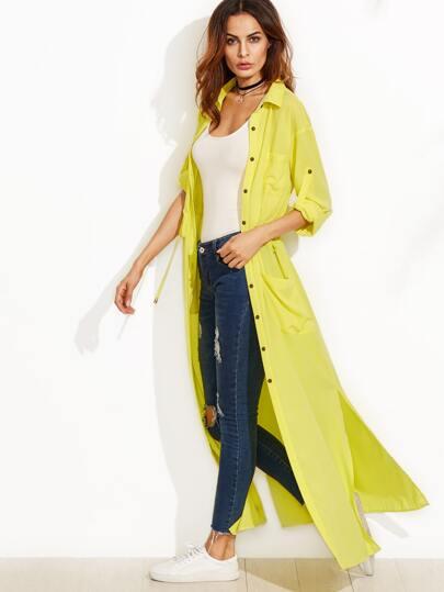 Yellow Roll Tab Sleeve Drawstring Duster Coat