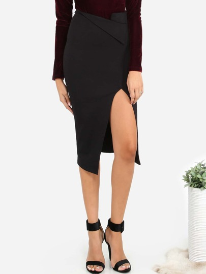 Asymmetrical Slit Midi Skirt BLACK