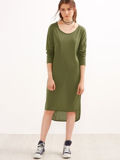 Army Green Drop Shoulder High Low Tee Dress