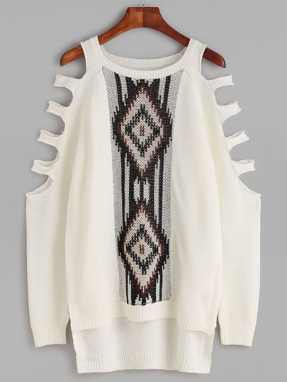White Geo Pattern Ladder Cutout High Low Sweater