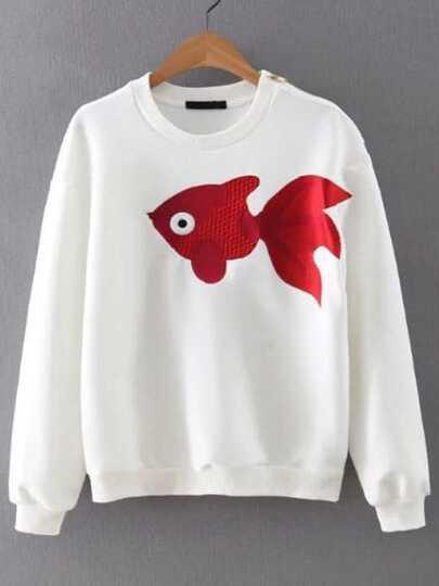 White Fish Embroidered Zipper Embellished Sweatshirt