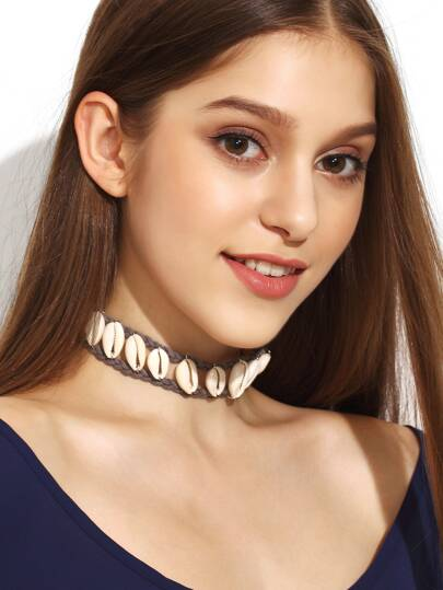 Grey Braided Leather Chain Shell Choker Necklace