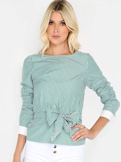 Striped Open Back Wrap Top KELLY GREEN