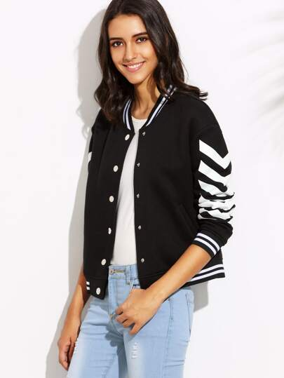 Black Chevron Print Striped Trim Baseball Jacket