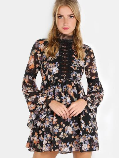 Floral Open Back Crochet Dress BLACK