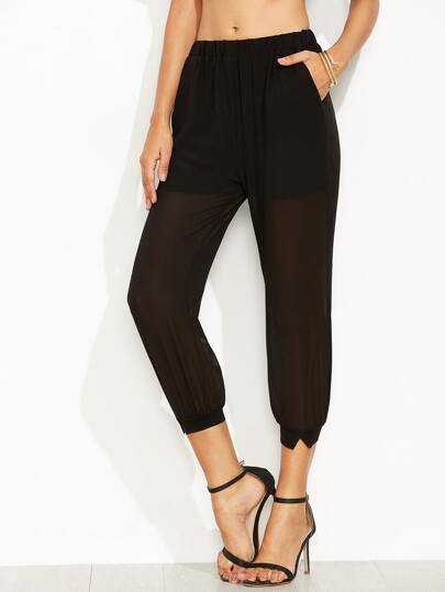 Black Elastic Waist Mesh Chiffon Pants