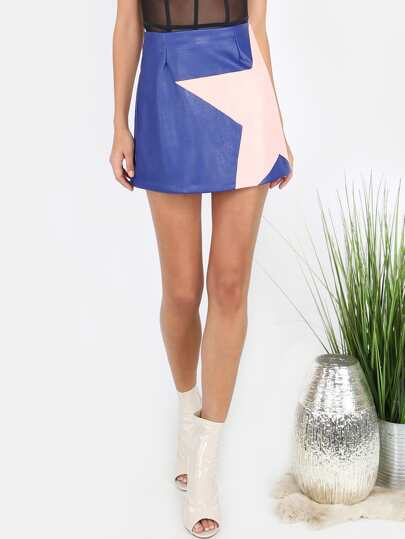 Faux Leather A-Line Mini Star Skirt ROYAL BLUE